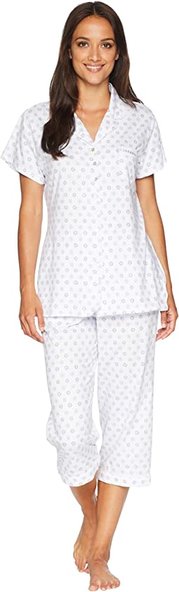 Knit Notch Collar Capris Pajama Set