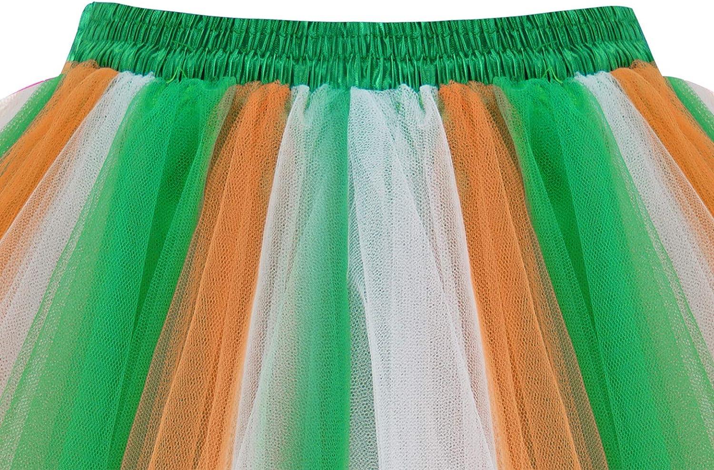 HomRain Tüllrock Damen 50er Rockabilly Petticoat Tutu Unterrock Halloween Cosplay Kurz Ballet Firt Tullet Ballkleid Zubehör Fasching Underskirt Green-white-orange