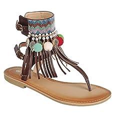 8b3496c4c BDshoes Memphis Fringe Bohemian Jewel Ankle Strap Cuff Tstrap .