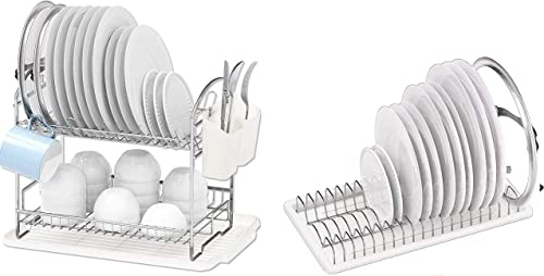 new arrival Simple lowest Houseware 2-Tier Dish Rack with Drainboard + lowest Plate Drying Rack outlet online sale