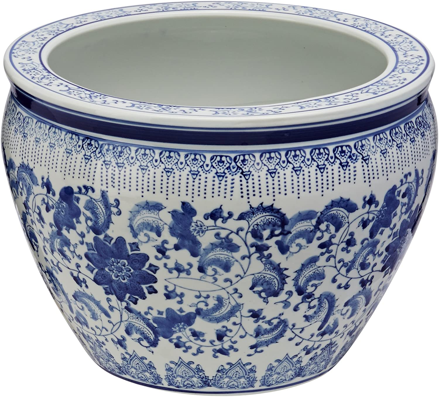 14-Inch Fine Export Chinese Porcelain Fishbowl Oriental Furniture Classic Original Authentic Ming Blue and White Floral Design