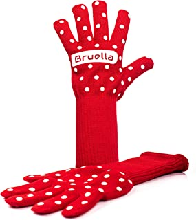 Bruella Women's Oven Gloves with Silicone | Oven Mitts with Extra Long Sleeves to Prevent Forearm Burns | Heat Resistant to 932°F / 500°C | 1 Pair