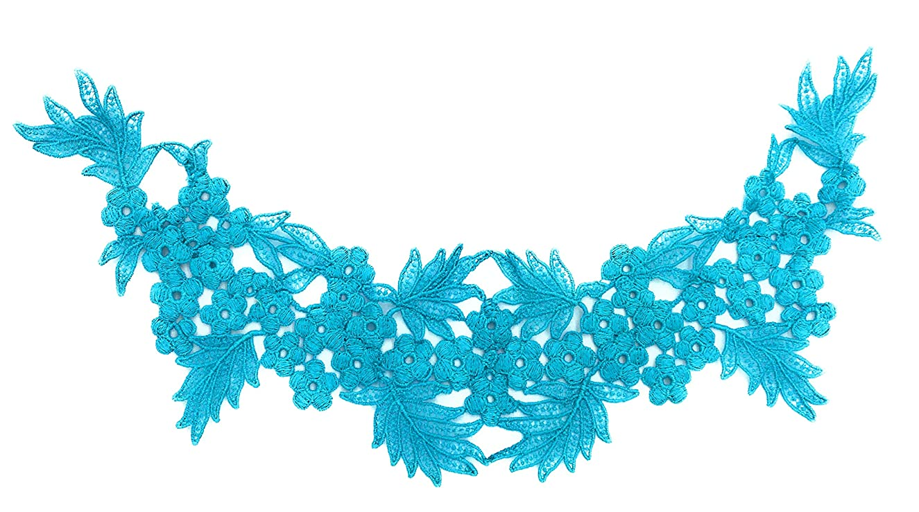 1 Turquoise Embroidery Collar Trims Lace Appliques, Motif Sewing Bridal Wedding