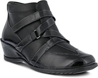 Women's Spring Step Allegra | Color Black Patent | Women's European Leather Combination Pull-on Wedge Bootie
