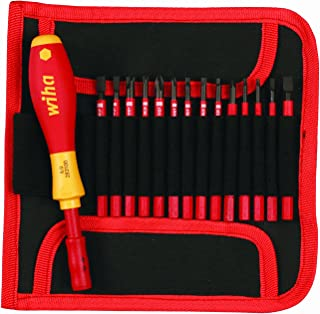 Wiha 28390 Insulated SlimLine Interchangeable Set Includes Handle with Pouch, 15-Piece