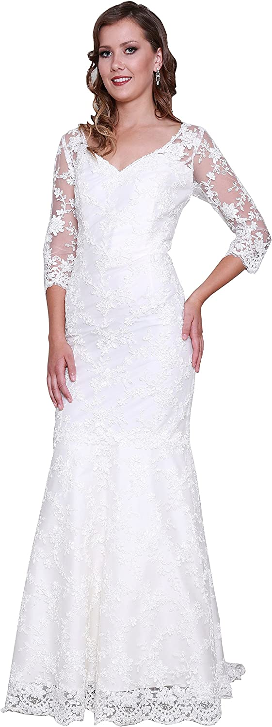 Kelaixiang Women's Plus Size Floral Lace 3 4 Sleeve Wedding Maxi Mother of The Bride Dresses