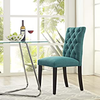 Modway Duchess Modern Tufted Button Upholstered Fabric Parsons Kitchen and Dining Room Chair in Teal