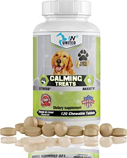 United Nutritionals Calming Treats for Dogs - Hemp Oil, Organic Chamomile, Anxiety and Stress, L-tryptophan wtih Valerian ...