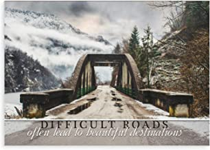 Difficult Roads Often Lead to Beautiful Destinations Wood Sign 12x18