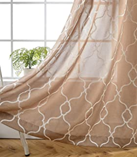 MIUCO Moroccan Embroidered Semi Sheer Curtains Faux Linen Grommet Curtains for Living Room 52 x 84 Inch 2 Panels Set, Taupe