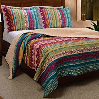 Southwestern Tribal Geometric Chevron Stripe Pattern Print Multicolor Bedding Blue Pink Yellow Luxury Reversible 100 Cotton Quilt Set with Shams King Size - Includes Bed Sheet Straps