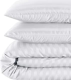 Pieridae 500 Thread Count Cotton Sateen Damask Stripe Duvet Cover Set - 3 Piece - King, White