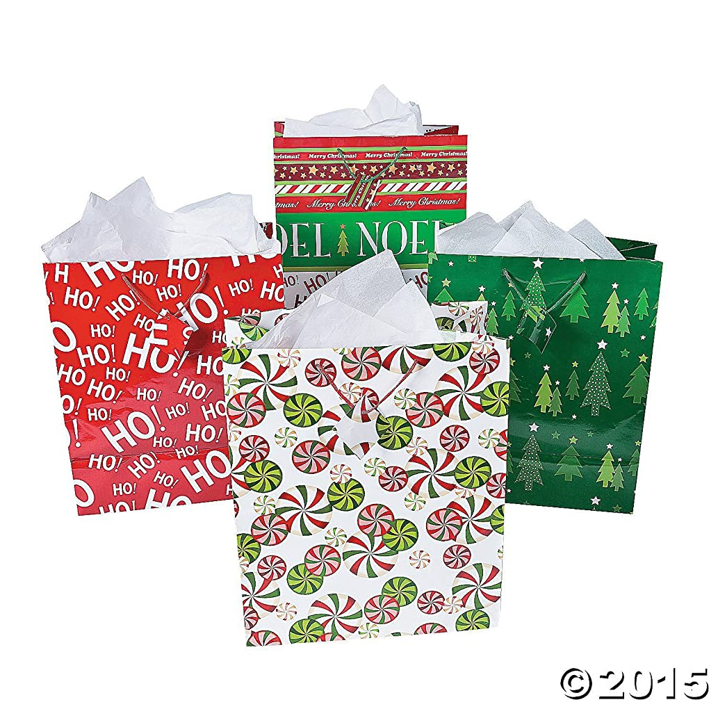 Fun Express Paper Jumbo Christmas Gift Bags | 24 Count | Great for Party Favors, Holiday Celebrations, and Special Occasions