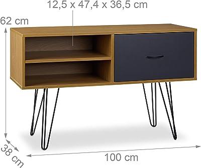 Relaxdays Aparador Salón Retro, Mesa Consola, Mueble Auxiliar Vintage, Sideboard, DM-Metal, 62x100x38 cm, Multicolor, 62 x 100 x 38 cm