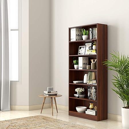 Amazon Brand - Solimo Scarlett Engineered Wood Bookcase with 6 Shelves (Walnut)