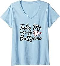 Womens Baseball Inspired Take Me Out to the Ballgame V-Neck T-Shirt