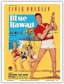 Elvis Presley in Blue Hawaii - Vintage Film Movie Poster by Rolf Goetze c.1961 - Hawaiian Master Art Print - 9in x 12in