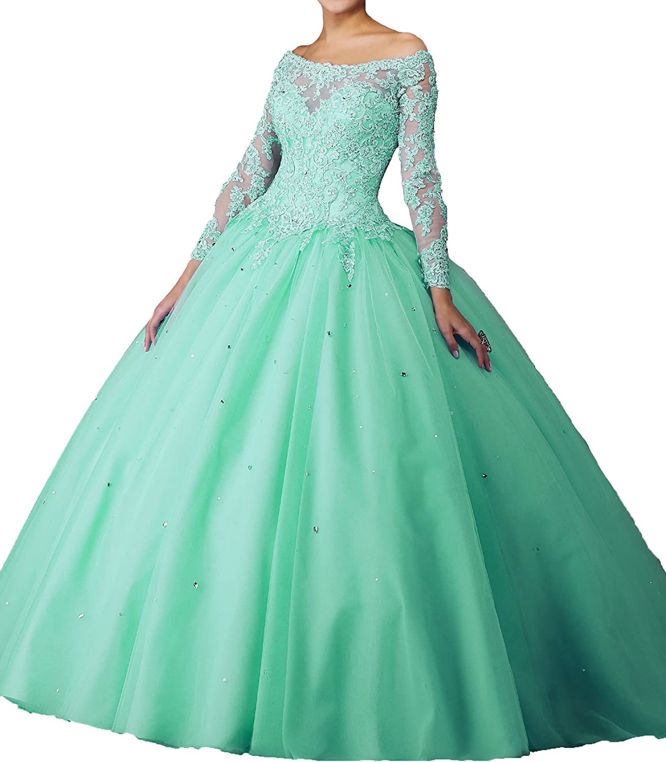 MFandy Women Bateau Boat Neck Ball Gowns Girls Long Sleeves Lace Quinceanera Dress