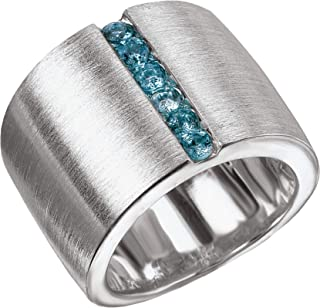925 Sterling Silver Satin Finish Wide Ring with Channel-Set Blue Topaz- Sizes 6-8