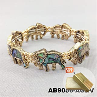 Bohemian Style Gold Finish Abalone Shell Elephant Animal Stretch Fashion Jewelry Bracelet For Women + Gold Cotton Filled Gift Box for Free