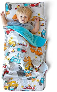 JumpOff Jo – Toddler Nap Mat – Children's Sleeping Bag with Removable Pillow for Preschool, Daycare, Sleepovers – Original Design: Jo's Garage (43 x 21 inches)