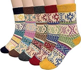 Calcetines algodón termicos ricos en algodon para Muje-Niña-Ideales para invierno EU 34-40 (5 Pares)