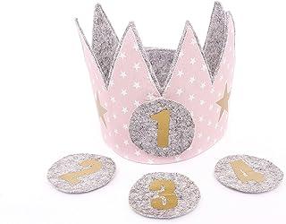 Corona cumpleaños Der Wollprinz, corona para bebes y niños de fieltro y tela en rosa con estrellas blancas con los números...