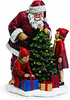 Santa Claus with Children and Tree 15 Inch Resin Christmas Tabletop Figurine