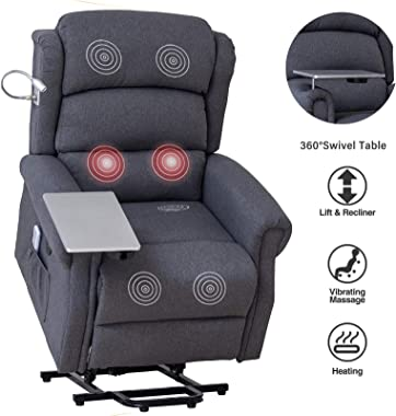 Mecor Lift Chair Recliner for Elderly,Power Lift Recliner w/Table&Light,Fabric Massage Recliner Chair with Heat/Side Pockets/