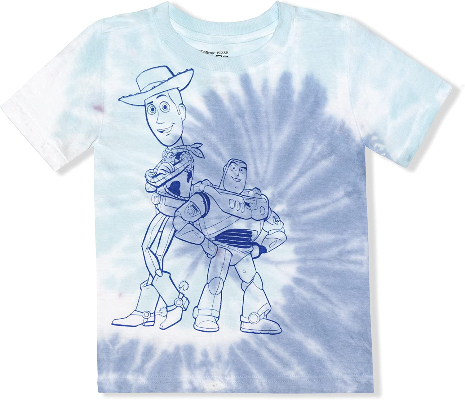 Disney Toy Story Short Sleeve Tee Shirt for Kids, Crewneck Tie Dye Top for Boys and Girls