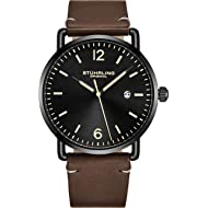 Stuhrling Original Mens Watch Leather or Bracelet Watch Band Silver Dial with Date Minimalist...