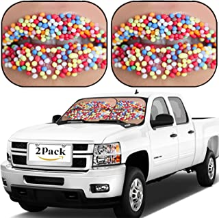 MSD Car Windshield Sun Shade, Universal Fit, 2-Piece for Car Window SunShades, Automotive Foldable Protector Cover, Close up of Woman Lips with Multicolored Sweet Pearls Image ID 5825222