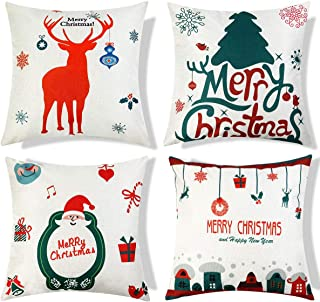 Christmas Pillow Covers 18 x 18 Inches Pack of 4 Decorative Square Throw Pillow Covers Set Cushion Cases Pillowcases for Sofa Bedroom Car