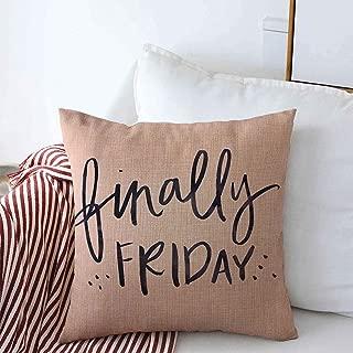 Staroatl Throw Pillow Case Watercolor Brush TGIF Thank Goodness Finally Friday Quote Cursive Fri Yay Hand Handwriting Design Farmhouse Decorative Square Pillows Covers 16