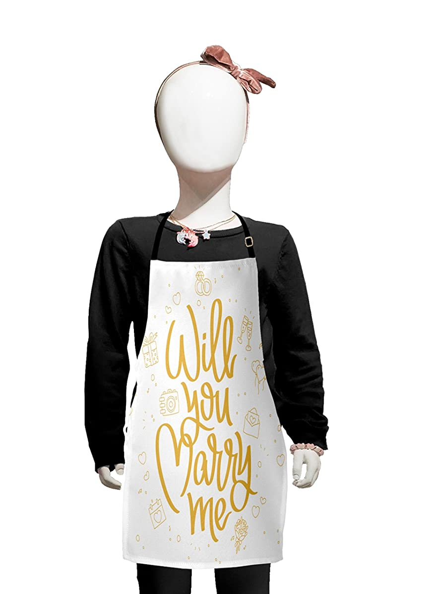Lunarable You and Me Kids Apron, Will You Marry Me Calligraphy with Gift Boxes Wedding Engagement Doodle Artsy, Boys Girls Apron Bib with Adjustable Ties for Cooking Baking and Painting, Apricot White