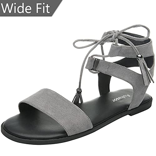 544cfce50b536 Women s Wide Width Flat Sandals - Comfortable Lace up Fringed Tassel Ankle  Strap Suede Dress Shoes