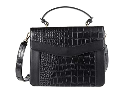 San Diego Hat Company Croc Embossed Smooth PU Leather Top-Handle Bag w/ Accordion Side Removable Strap (Black) Handbags