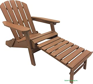 Styled Shopping Deluxe Faux Wood Recycled Poly Folding Adirondack Chair with Build in Ottoman Footrest