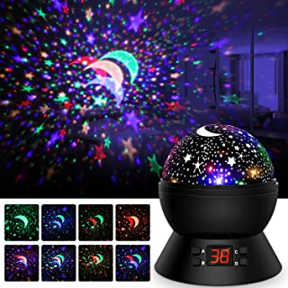 Star Projector, Night Lights for Kids 360-Degree Rotating Star Moon Projection Lamp with LED Timer Auto-Shut, Multicolor Galaxy Stars Night Light Projector for Room Decor, Christmas Gift for Kids Baby