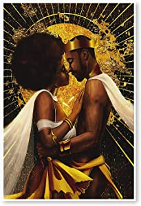 WOJUHAO Canvas Print Wall Art Painting, African King and Queen Lovers Picture, Modern Black Art Paintings for Adult Bedroom Bathroom Wall Decor (no Frame) (16''x24''/40x60cm)
