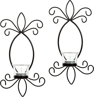 Hosley's Set of 2 Iron Tea Light LED Candle Wall Sconces- 11.5 High. Ideal Gift for Spa Aromatherapy Wedding LED Tealight ...