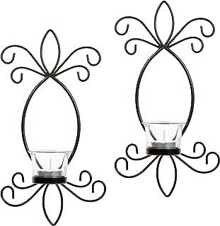 Hosley Set of 2 Iron Tea Light LED Candle Wall Sconces- 11.5