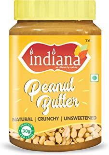 INDIANA Natural Peanut Butter (Crunchy) 100% Roasted Peanuts (1Kg) | Unsweetened | 32% Protein | No Added Sugar | No Salt ...