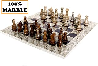 RADICALn 15 Inches Fossil Coral and Dark Brown Weighted Handmade Marble Most Popular Chess Board Games Set - Classic Style Staunton Home Decor Chess Sets - Non Checker Non Go Non Backgammon