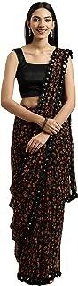 Womanista georgette with blouse piece Saree (TKIM811_ Black_ Free Size)