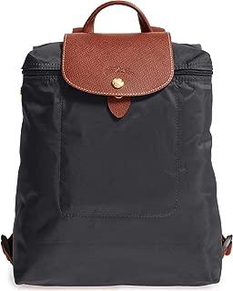Longchamp 'Le Pliage' Nylon and Leather Backpack, Gunmetal