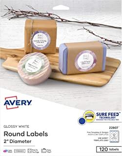 ملصقات دائرة بيضاء لامعة من Avery ، تكنولوجيا تغذية مؤكدة، متوافقة مع الليزر/النافثة للحبر، 2 بوصة، 120 ملصق لامع (22807)