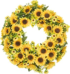 "SHELTERION Sunflower Wreath 19.5"" (50cm) Summer Decor Sunflower Wreaths for Front Door Outside Spring Décor Summer Decorations for Home Sunflower Party Decorations Yellow Wreath Farmhouse Décor"