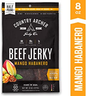 Mango Habanero Jerky by Country Archer | 100% Grass-Fed, Gluten Free | 8 Ounce