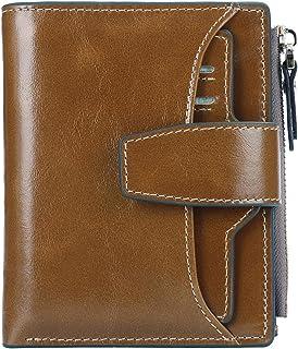 AINIMOER Women's RFID Blocking Leather Small Compact Bi-fold Zipper Pocket Wallet Card Case Purse with id Window (Waxed Khaki)